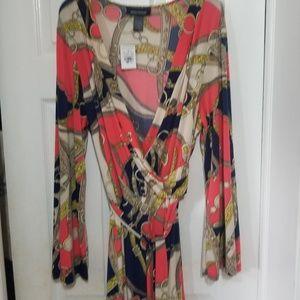ASHLEY STEWART NWT WRAP STYLE CHAIN PRINT DRESS